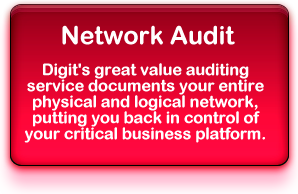 Network Audit: Digit's great value auditing service documents your entire physical and logical network, putting you back in control of your critical business platform.